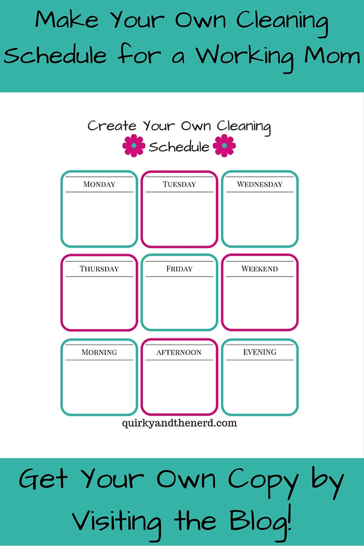 photo about Printable Cleaning Schedule for Working Moms titled Generate Your Private Cleansing Program for the Doing work Mother - Quirky