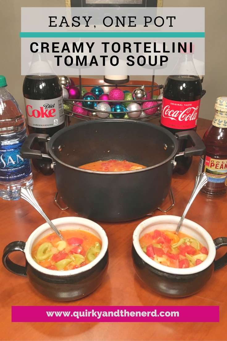 Easy, One Pot Creamy Tortellini Tomato Soup is a great family meal during the holidays. #HolidayMealSolutions #Sponsored