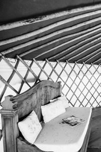 sofa in the cabush yurt
