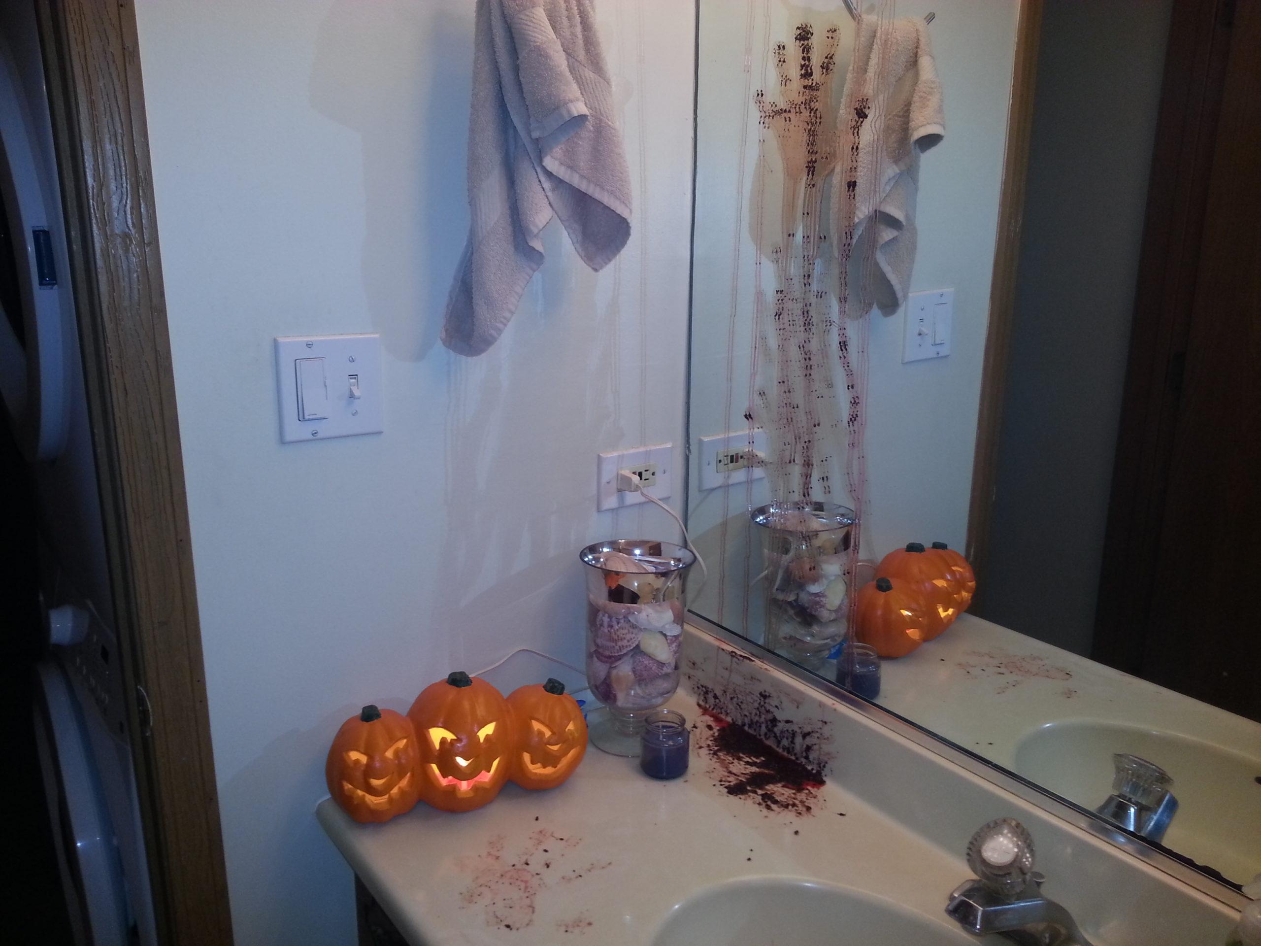 Bloody Hand Print On The Mirror Scary Halloween Bathroom Decor