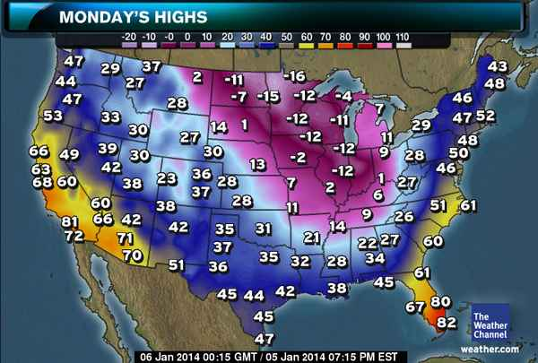 These are the HIGHS for today...BEFORE the windchill, which is supposed to bring everything down into the super negative.  Source: The Weather Channel