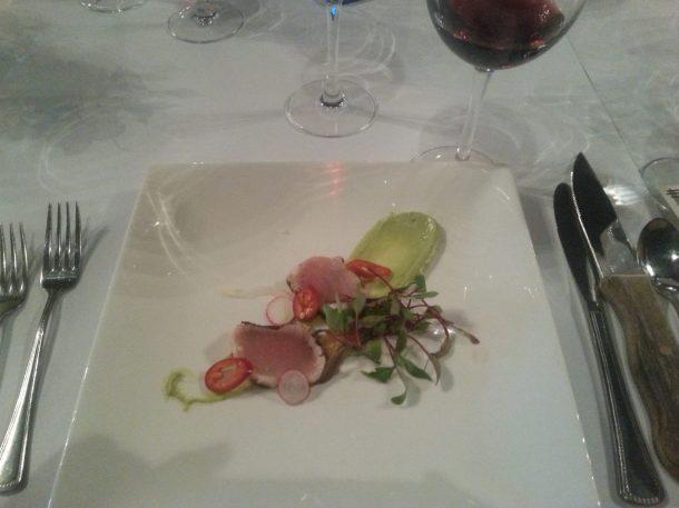 Crudo with albacore, avocado puree, grapefruit, pickled fennel, breakfast radish and Fresno chili
