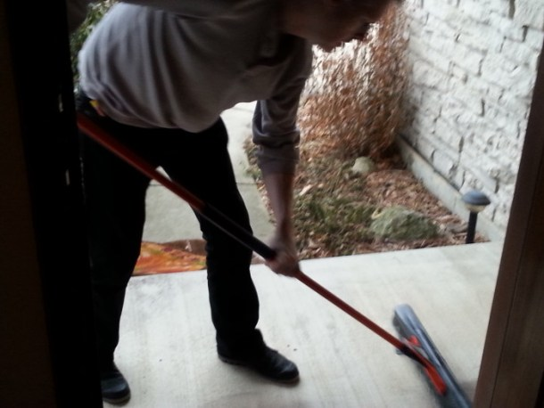 Brian even swept the front porch with the Black and Decker broom