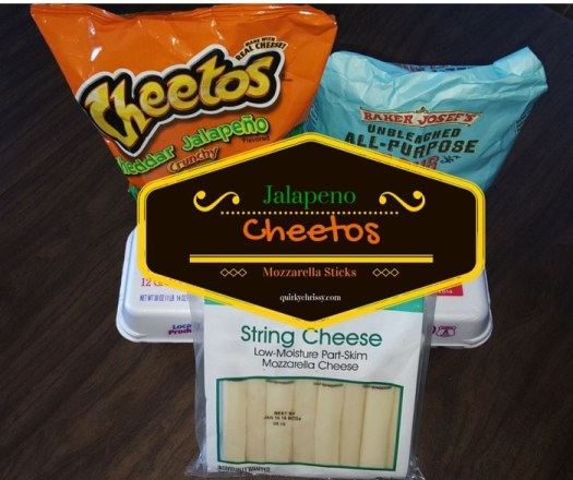 Cheddar Jalapeno Cheetos add just a hint of kick and added flavor to homemade mozzarella sticks