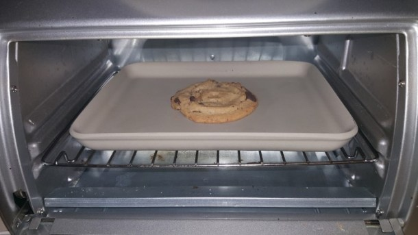 Baking an Otis Spunkmeyer cookie in the toaster oven is easy. Just pop it in at 350 for 5-7 minutes for a warm gooey cookie.