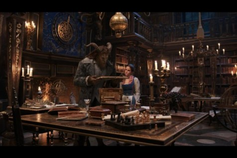 Belle and Beast in the castle library