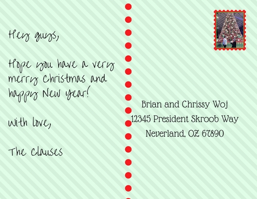 Postcard addressed to Brian and Chrissy Woj