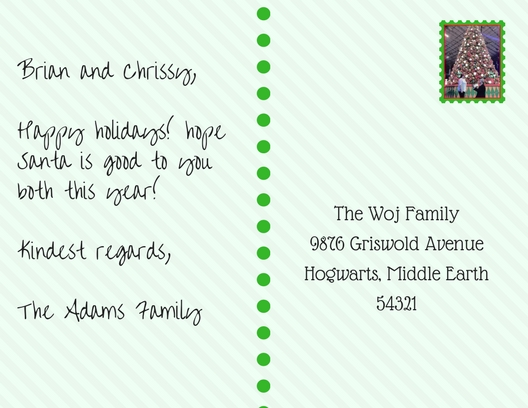 Postcard addressed to The Woj Family instead of attempting a plural with an apostrophe