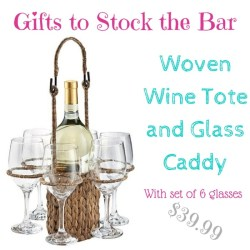 gifts to stock the bar: woven wine tote and glass holder $40