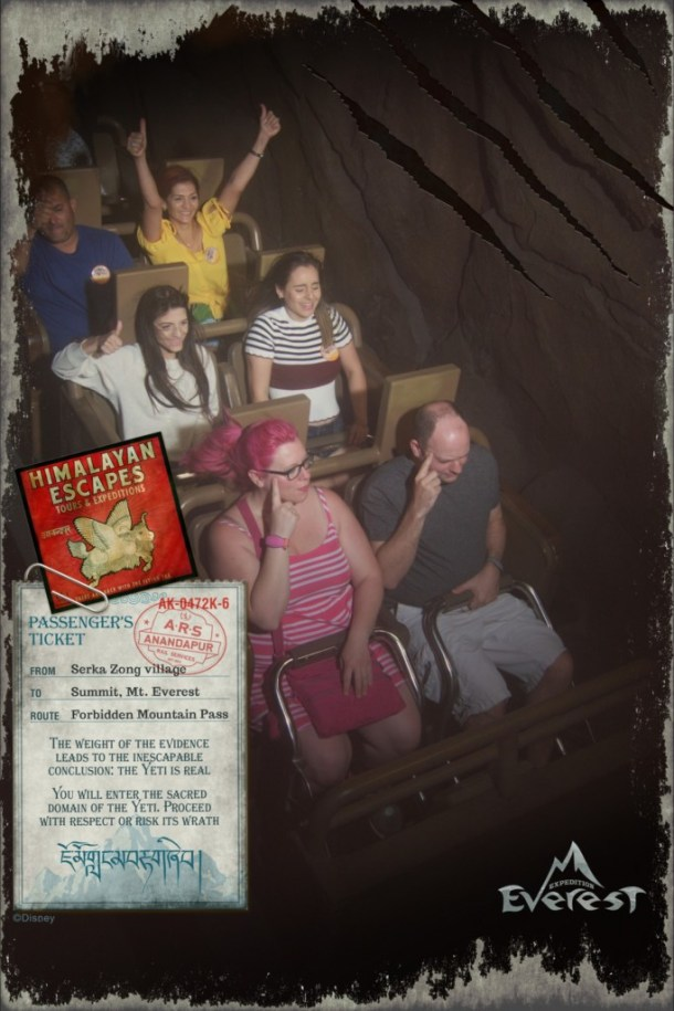 Chrissy and Cletus doing a pose on Expedition Everest