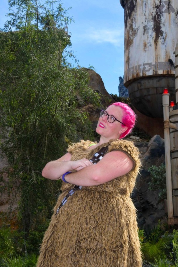 Chrissy in a Chewbacca dress in Star Wars Galaxy's Edge Batuu Disney World