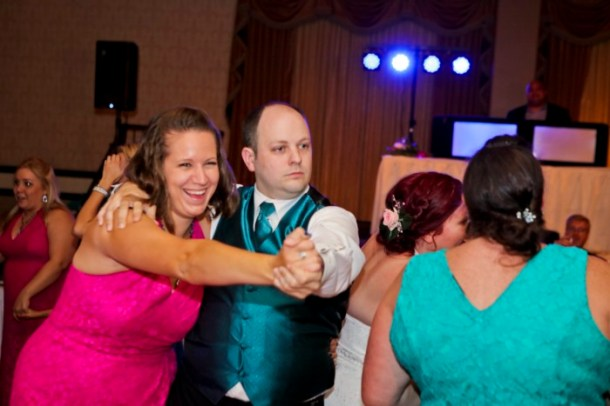 hilarious professional wedding photos: Dancing to Time After Time from Romy and Michelle's High School Reunion