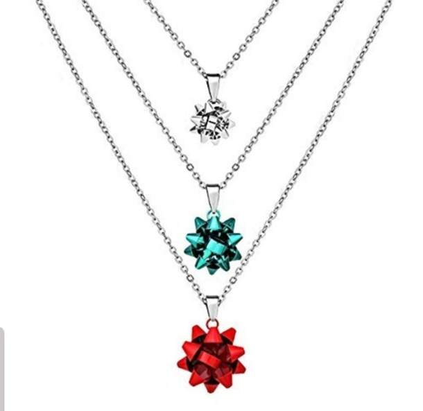 Christmas bow necklace set
