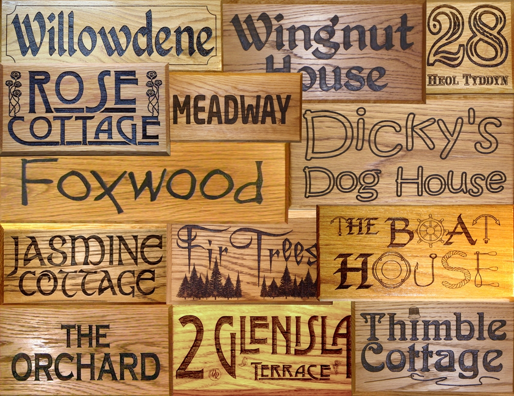 Solid wood house signs
