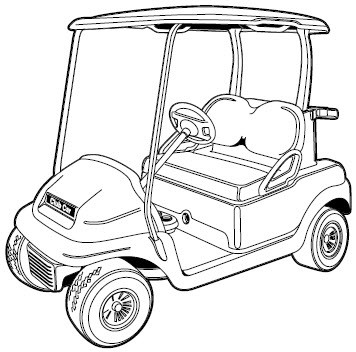 Golf Cart Line Drawing Sketch Coloring Page