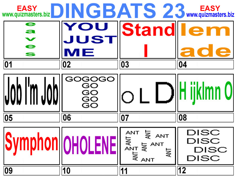 Dingbats Game Answers