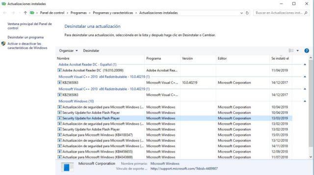 Windows ver actualizaciones instaladas