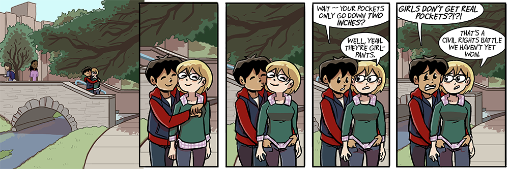 Dumbing of Age Girlpants Comic about how women don't get real pockets.