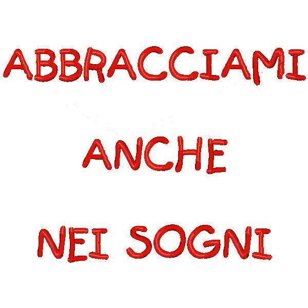 Cuscino con frase Abbracciami anche nei sogni  Quorino  Vendita online di Gadget Ricamati