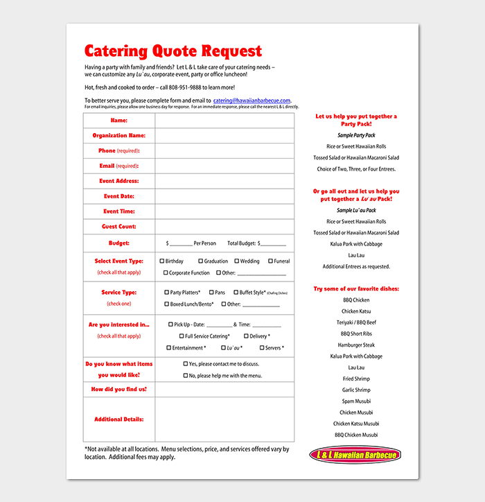 catering event quote request form