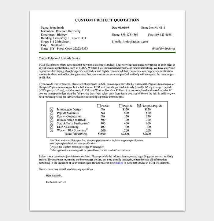 It includes an introductory message and all other necessary fields such as service description, price estimation, target dates of completion, etc. Project Quotation Template 18 Doc Pdf Quote Templates Free Quotation Template For Word Excel