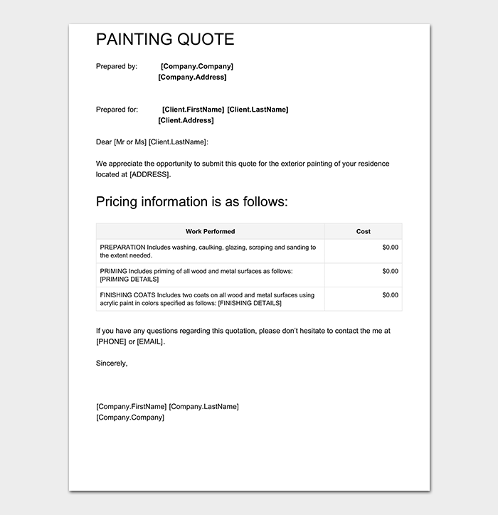 Painting quotation template 8 for word excel pdf painting quote template pdf altavistaventures Gallery