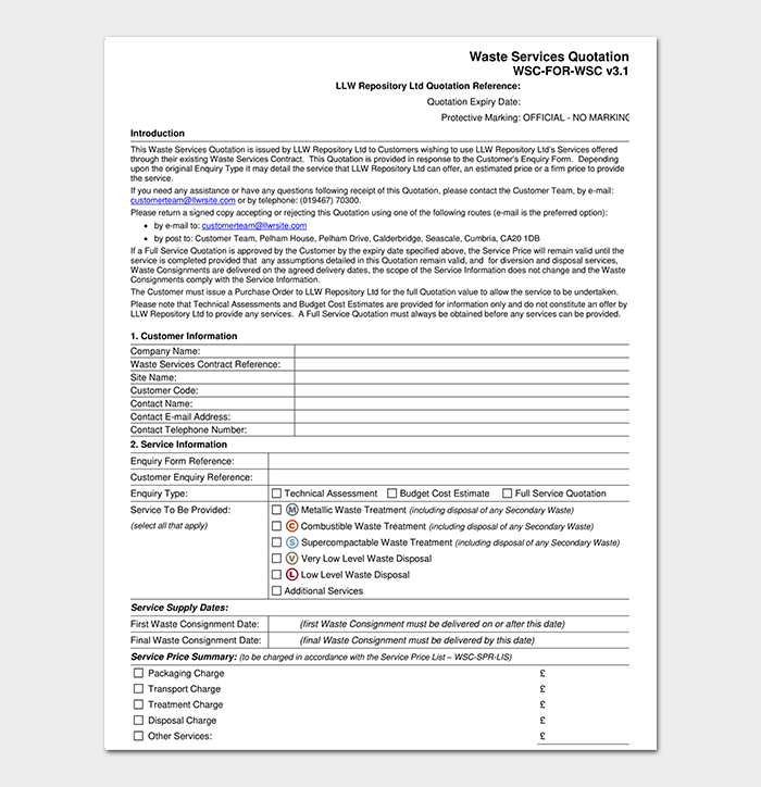 services quotation template