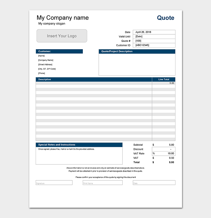 Service Quotation Template - 10+ Samples & Formats