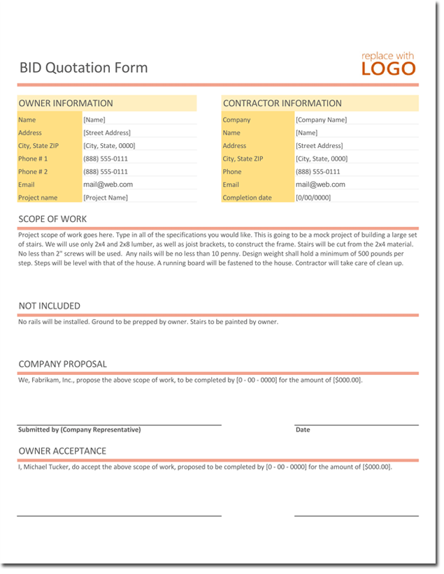 Bid Quotation Template - Free Estimate and Quote Templates