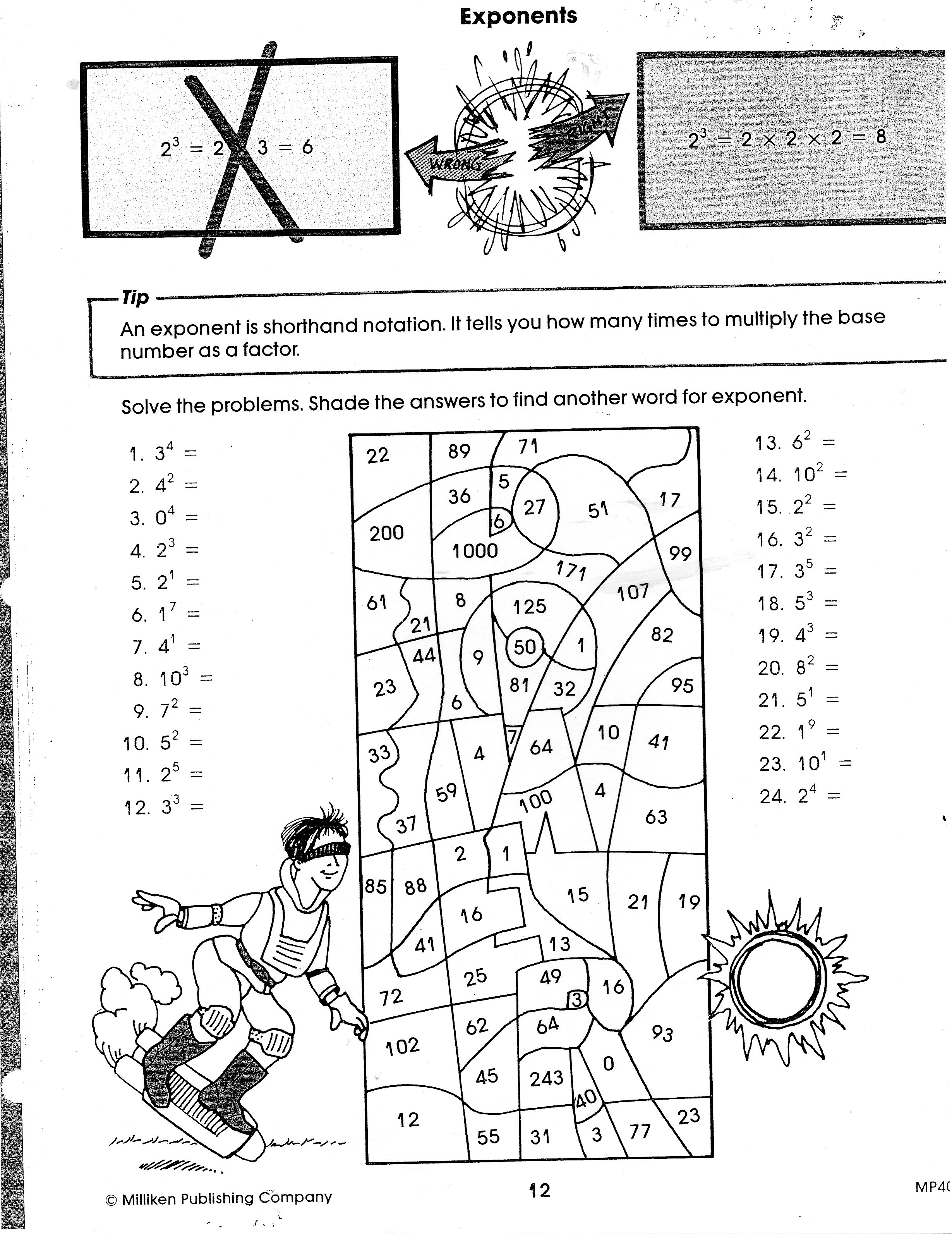 Exponent Rules Fun Worksheet