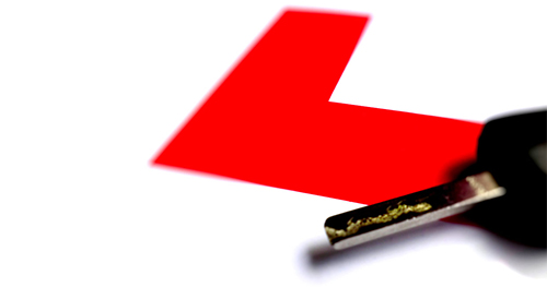 L Plate and car key