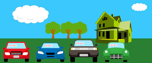 Graphic of 4 cars outside a house