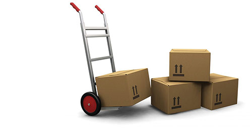 Goods In Transit Insurance represented by a parcel trolley and some boxes