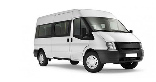Minibus Insurance represented by a white minibus