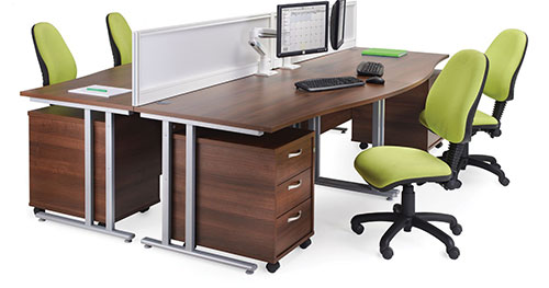 Office Insurance represented by an office desk and 4 chairs