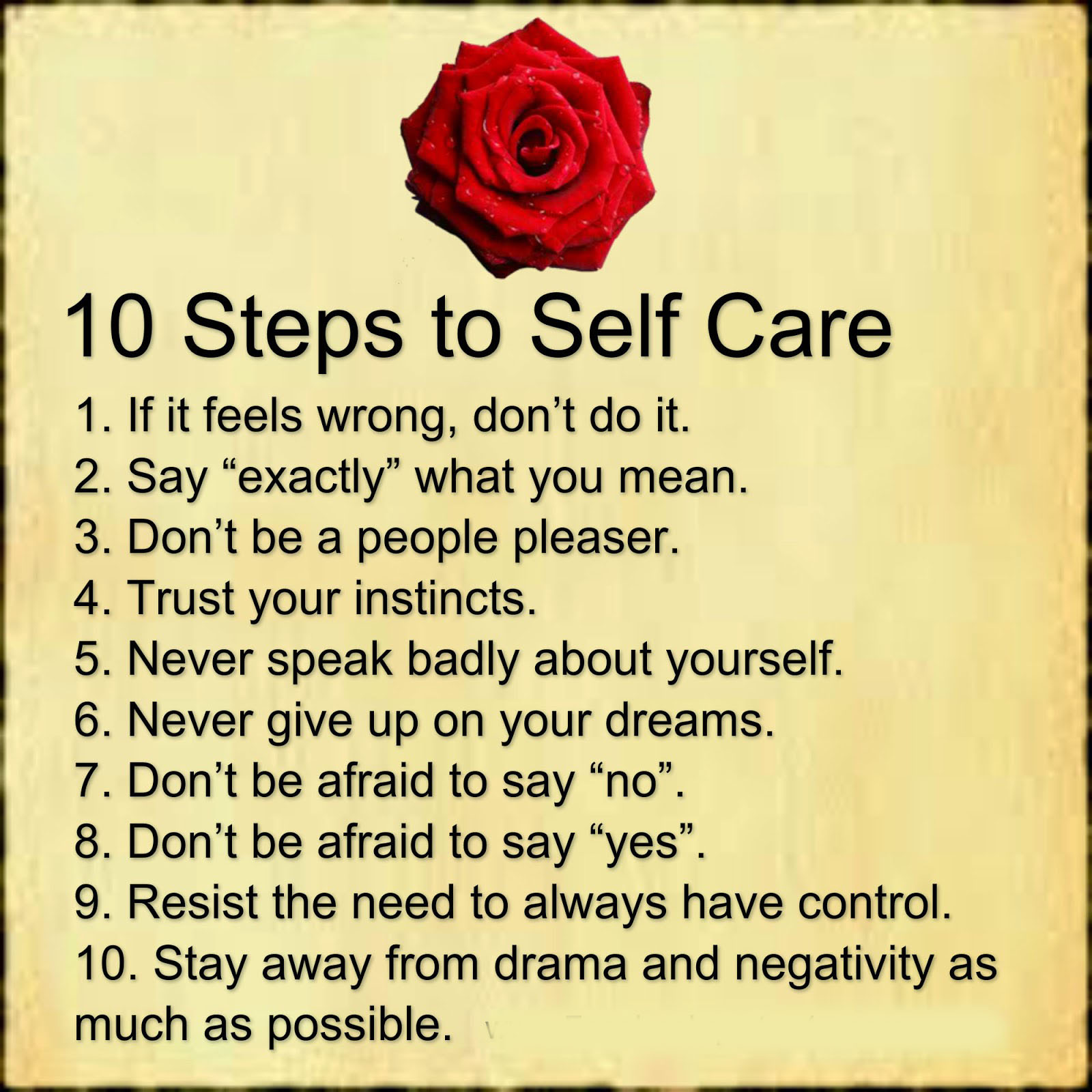 10 Steps Of Self Care