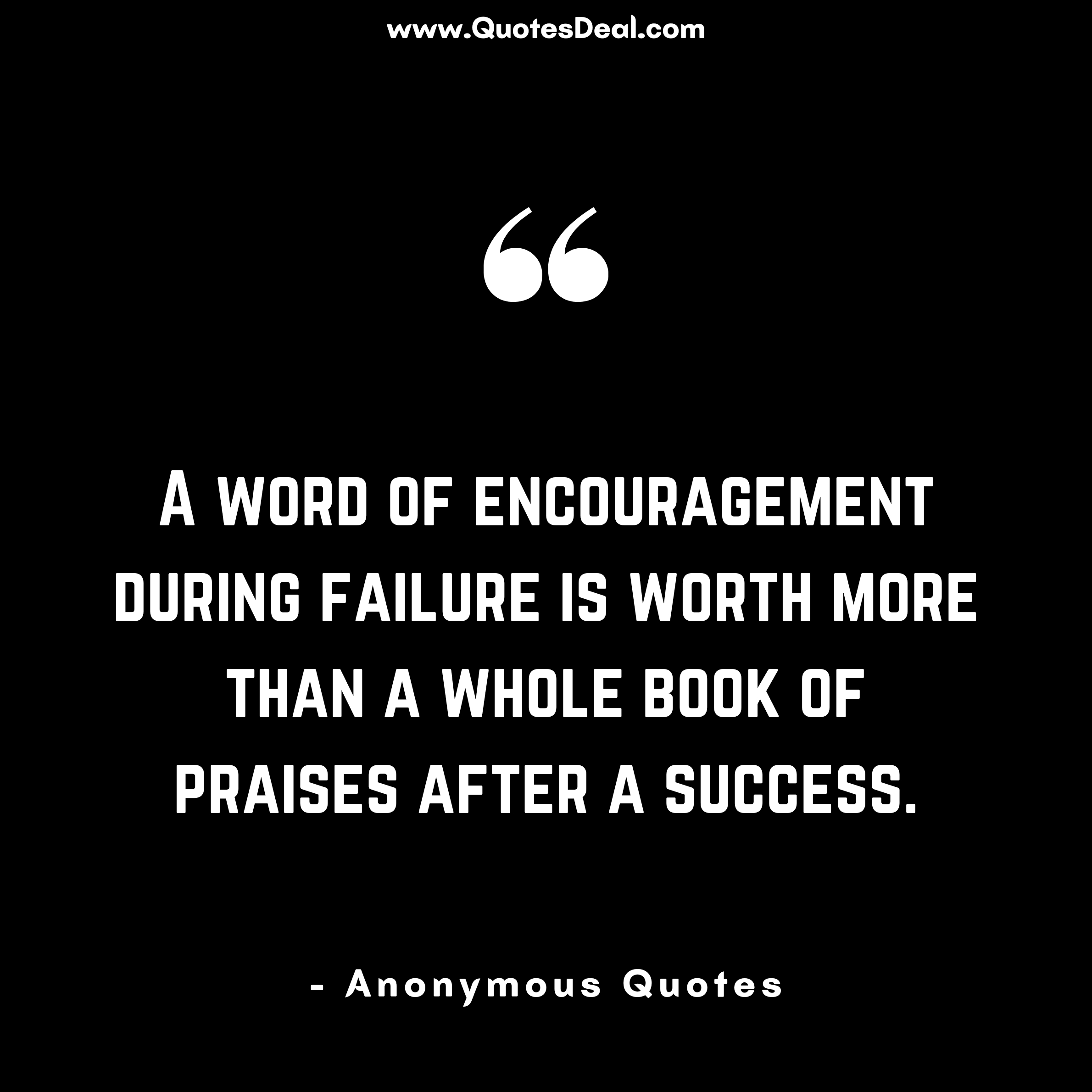 A word of encouragement during failure