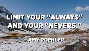 """Limit your """"always"""" and your """"nevers."""" - Amy Poehler"""