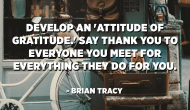 Develop an 'attitude of gratitude.' Say thank you to everyone you meet for everything they do for you. - Brian Tracy