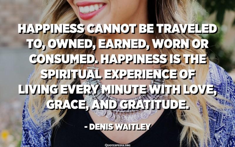 La felicitat no pot viatjar a, ser propietat, guanyar-la, desgastar-la ni consumir-la. La felicitat és l'experiència espiritual de viure cada minut amb amor, gràcia i gratitud. - Denis Waitley