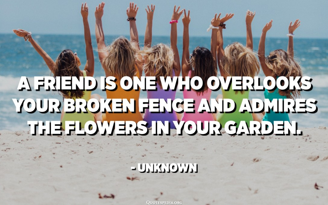 A friend is one who overlooks your broken fence and admires the flowers in your garden. - Unknown