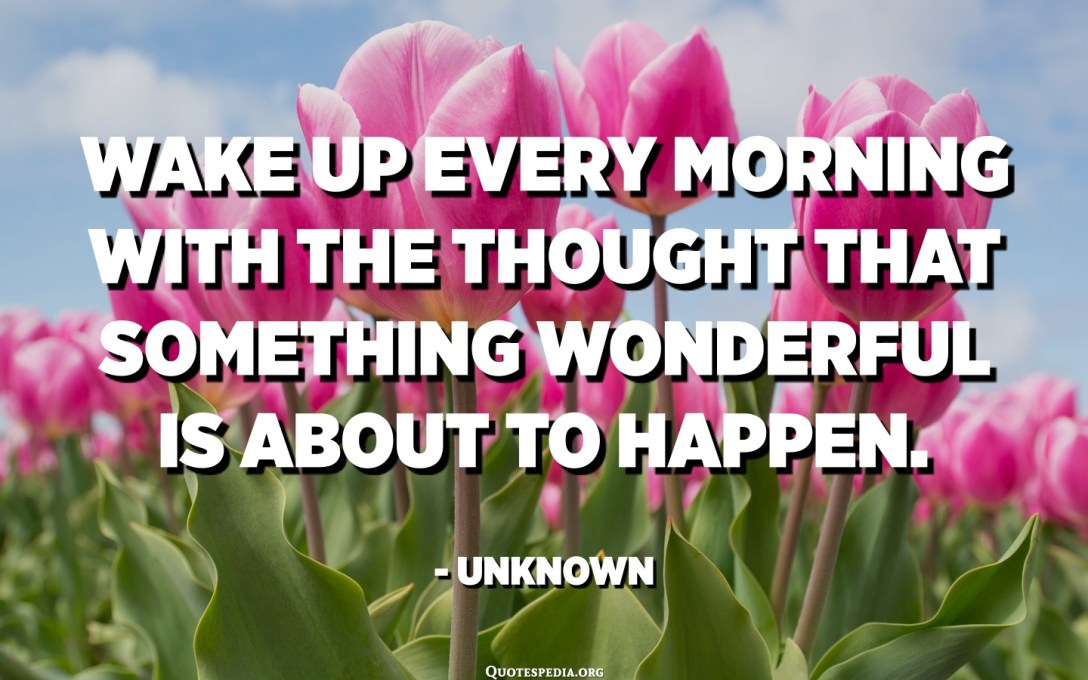 Wake up every morning with the thought that something wonderful is about to happen. - Unknown