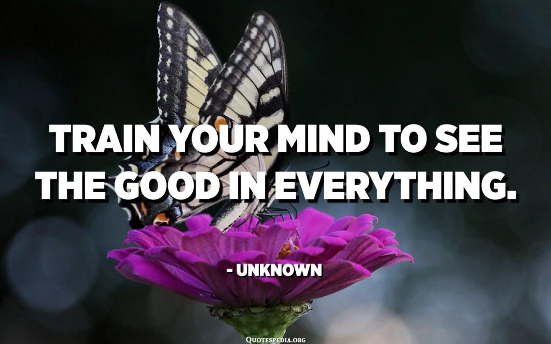 درب عقلك على رؤية الخير في كل شيء. - مجهول