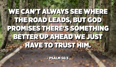 We can't always see where the road leads, but God promises there's something better up ahead we just have to trust Him. - Psalm 56:3