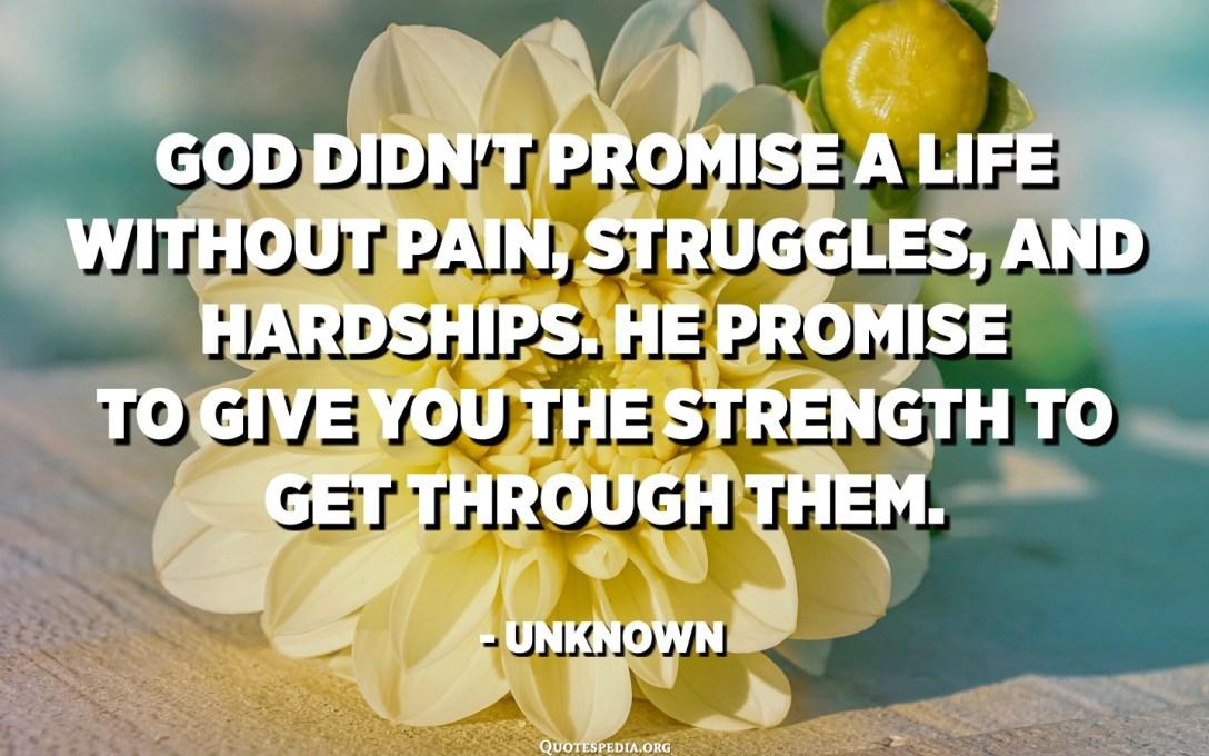 ભગવાન પીડા, સંઘર્ષ અને મુશ્કેલીઓ વિના જીવન વચન આપ્યું નથી. તે તમને તેમાંથી પસાર થવાની શક્તિ આપવાનું વચન આપે છે. - અજ્ Unknownાત