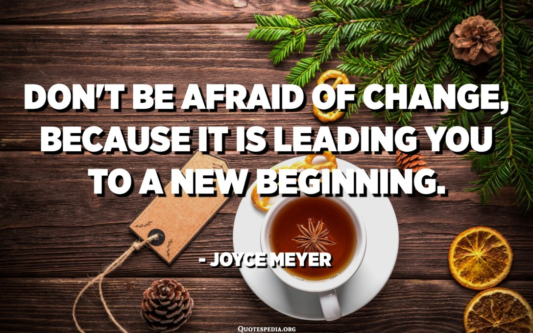 Don't be afraid of change, because it is leading you to a new beginning. - Joyce Meyer