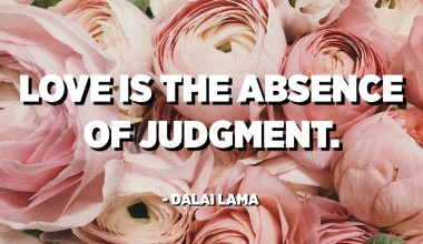 Love is the absence of judgment. - Dalai Lama