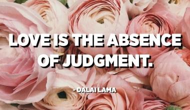 الحب هو غياب الحكم. - الدالاي لاما
