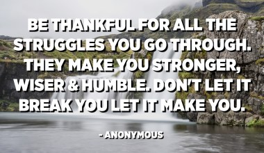 Be thankful for all the struggles you go through. They make you stronger, wiser and humble. Don't let it break you let it make you. - Anonymous
