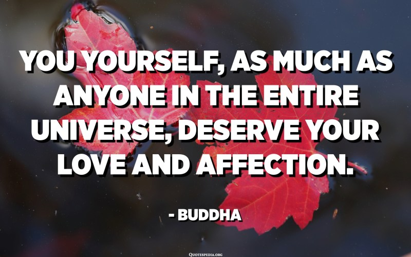 You yourself, as much as anyone in the entire universe, deserve your love and affection. - Buddha